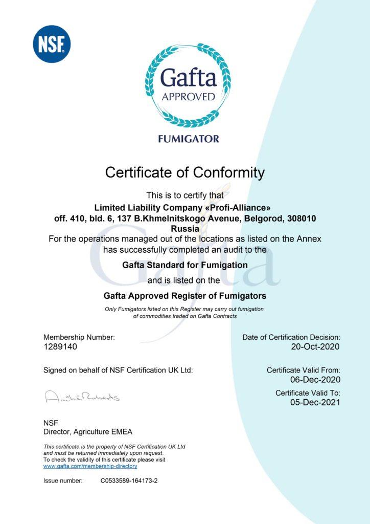 Gafta Fumigation Certificate